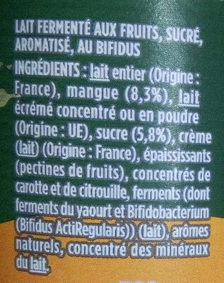 Activia au bifidus mangue - Ingredients