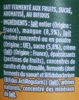 Activia mangue - Ingredients - fr