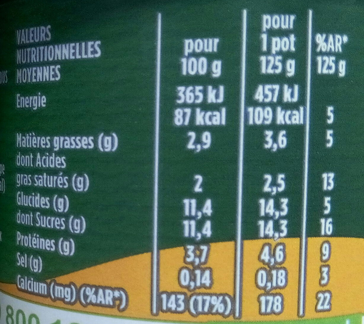 Activia mangue - Nutrition facts - fr