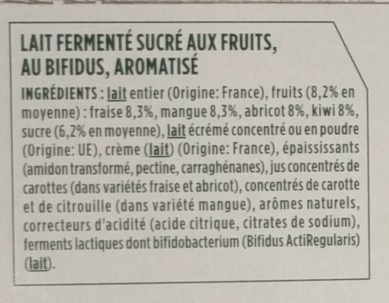 Lait fermenté sucré aux fruits, au bifidus, aromatisé - Ingrédients