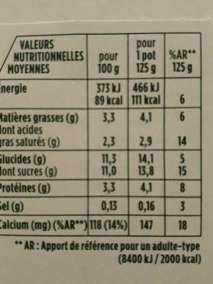 Activia fruits - Nutrition facts