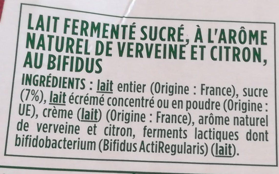 Activia touche citron verveine - Ingrédients - fr