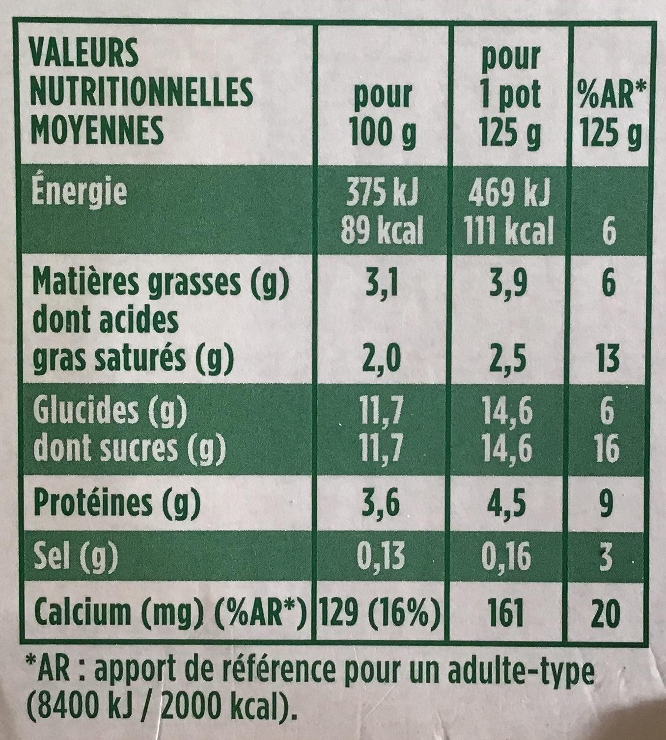 Activia touche citron verveine - Informations nutritionnelles - fr