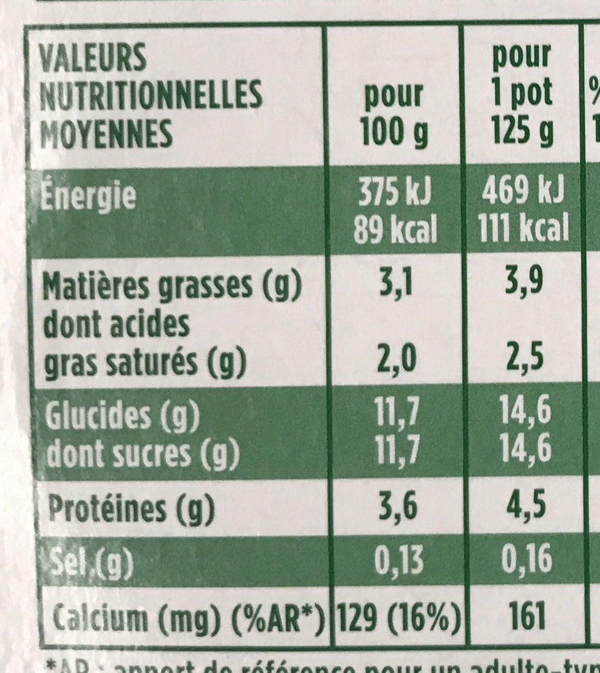Activia Touche de Thé noir & Poire - Nutrition facts