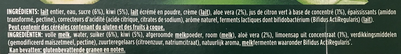 Activia Kiwi Citron Vert & Aloe Vera - Ingredients - fr