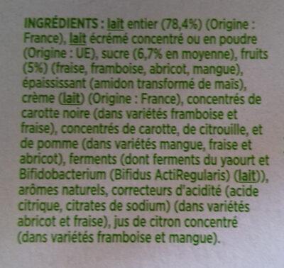 Activia fruits mixés - Ingredients