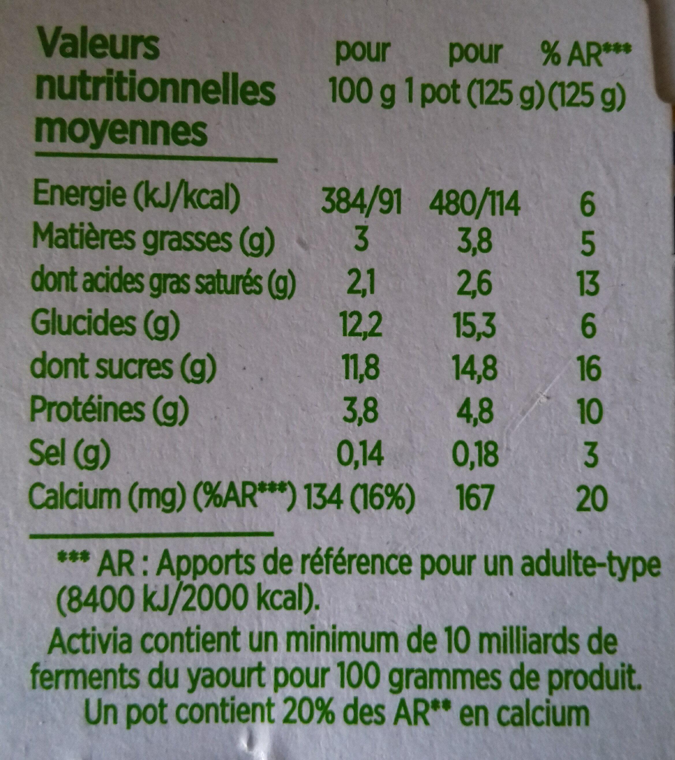 Activia fruits mixés - Nutrition facts