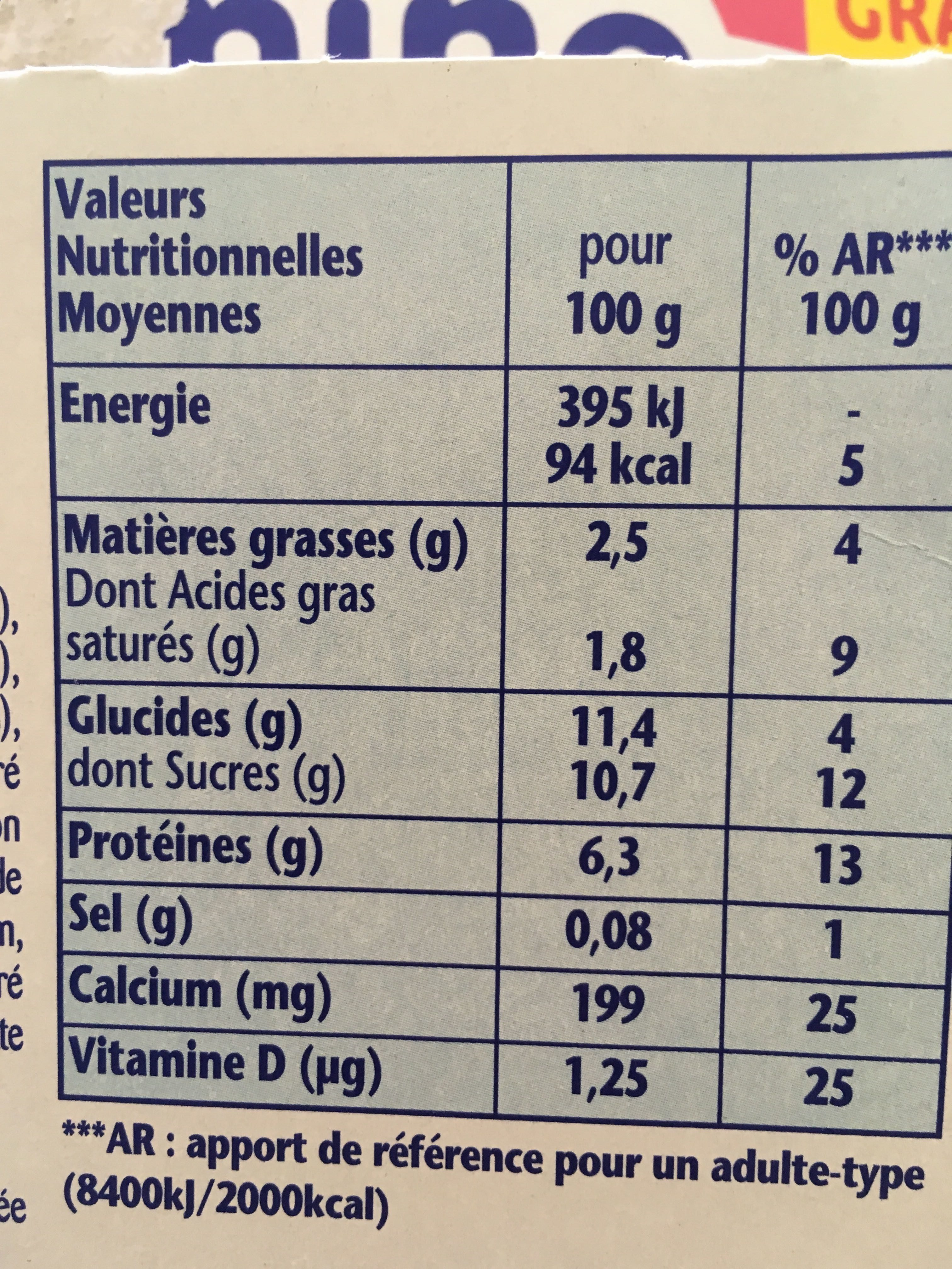 Danonino aux fruits - Nutrition facts