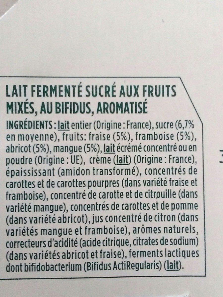 Activia au bifidus framboises mangue abricots fraises - Ingredienti - fr