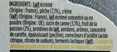 Light & Free Pêche et fruit de la passion - Ingrédients - fr