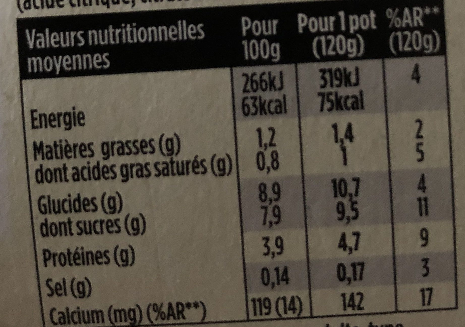 Light & free myrtille sauvage - Informations nutritionnelles - fr