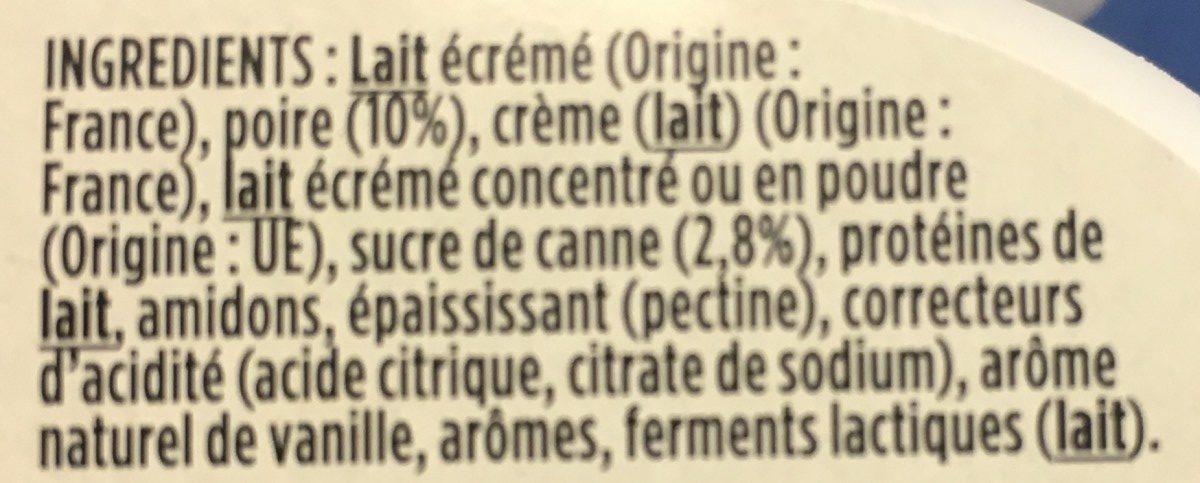 Light & Free Poire & Pointe de Vanille - Ingredients
