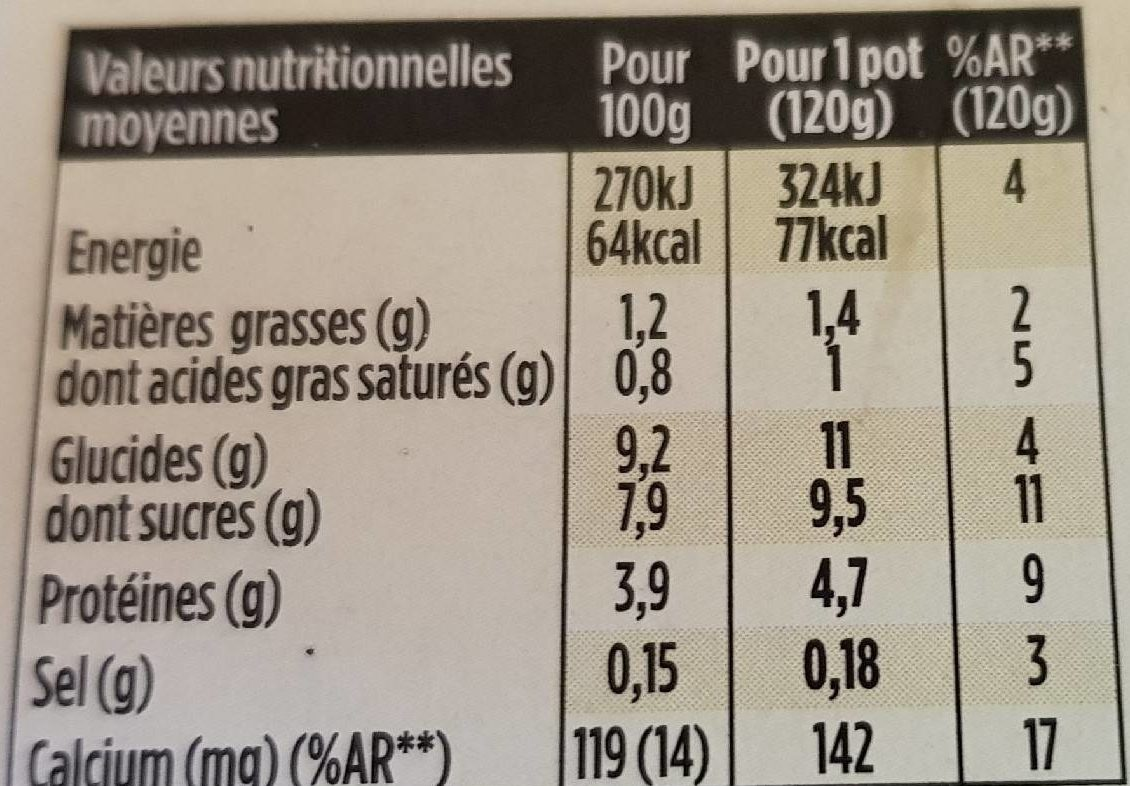 Light & Free Poire & Pointe de Vanille - Nutrition facts