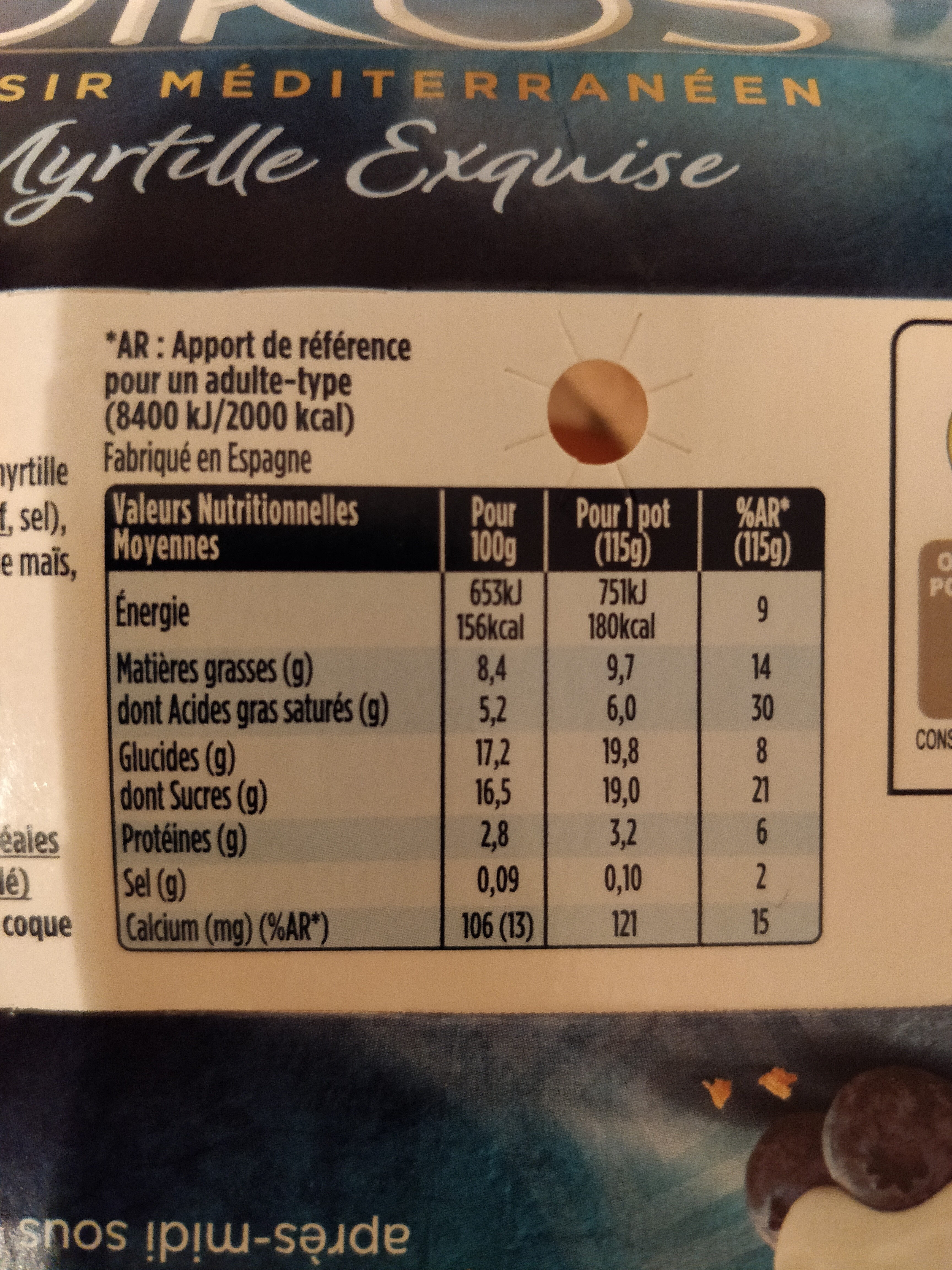 Oikos myrtille exquise - Nutrition facts