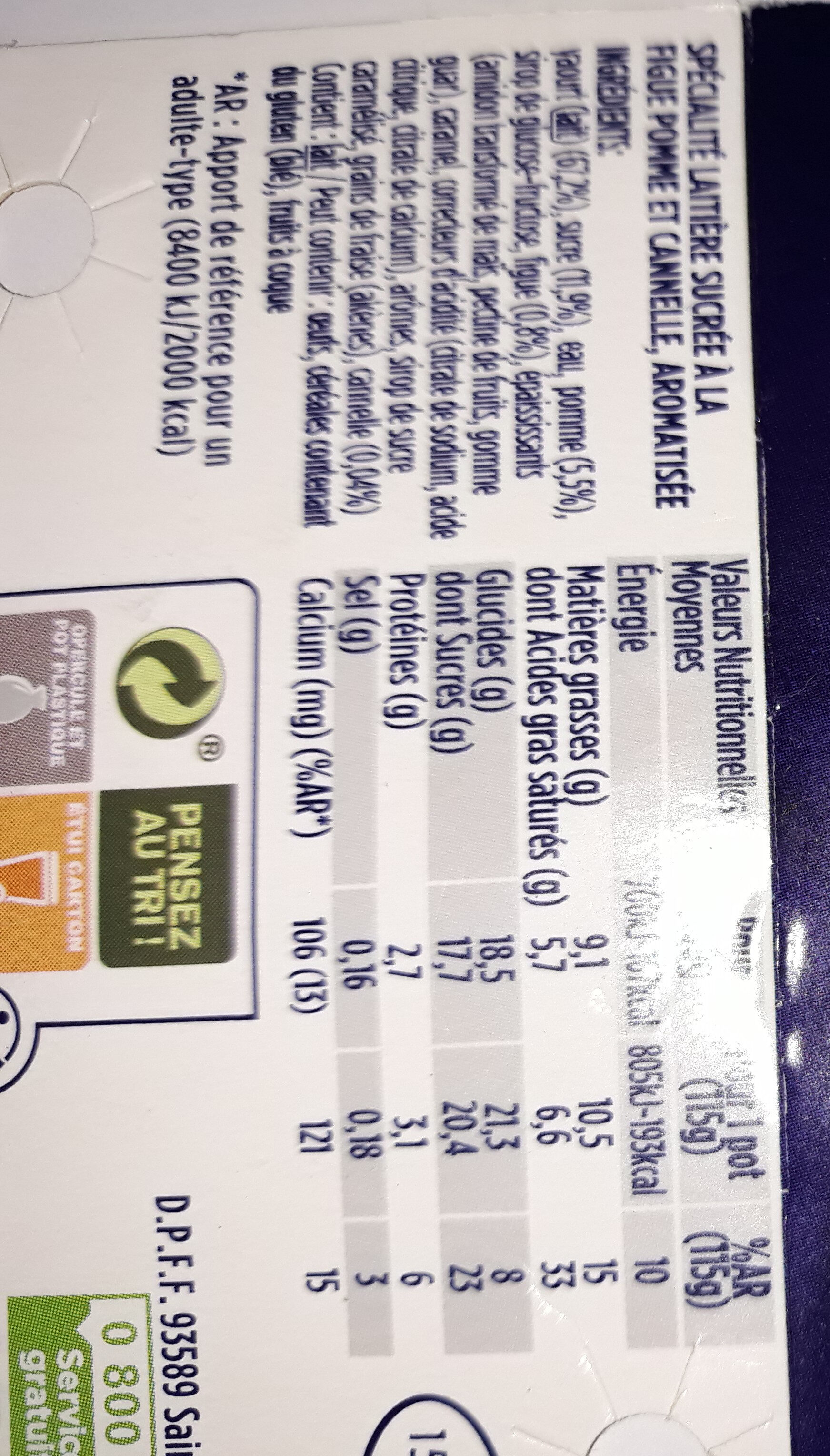 Oikos figues pomme cannelle - Nutrition facts