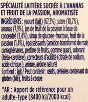 Oikos fruit de la passion et ananas - Ingredients