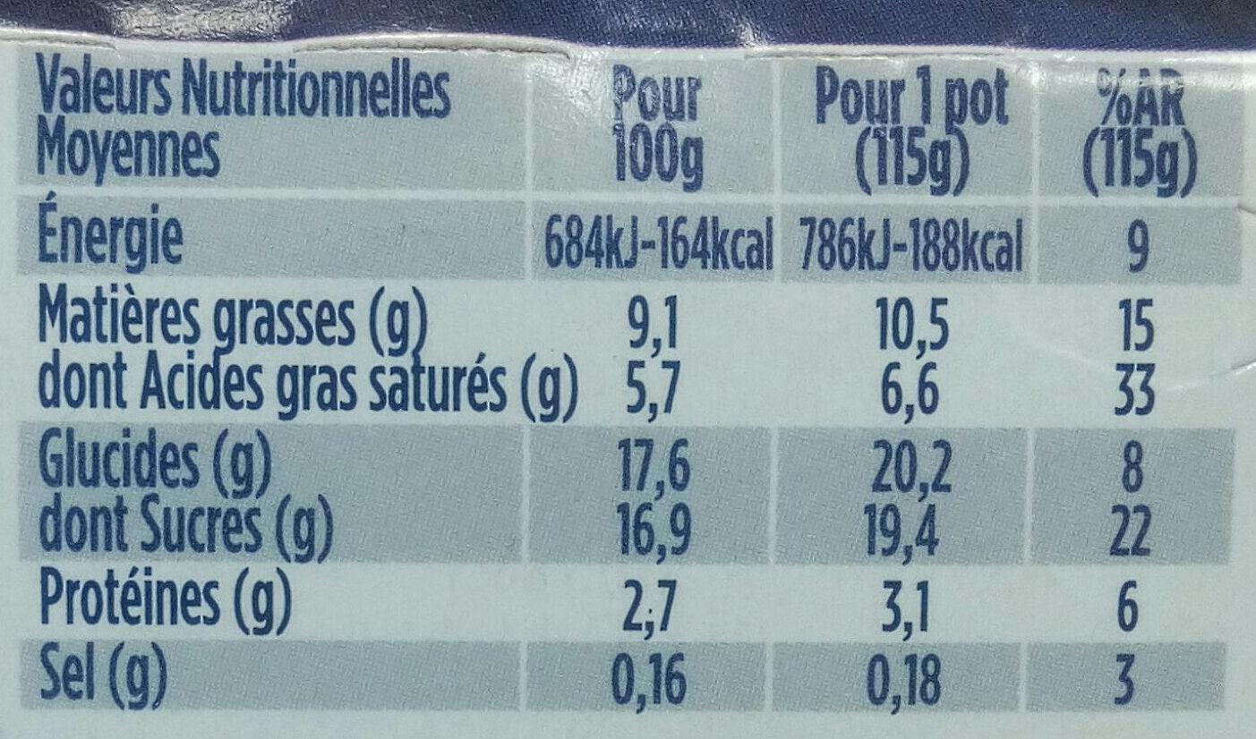 Oikos fruit de la passion et ananas - Nutrition facts