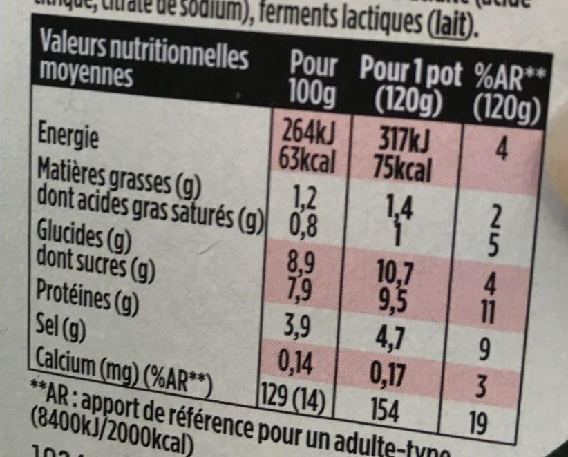 Light & Free Fraise et Fraise des Bois - Informations nutritionnelles