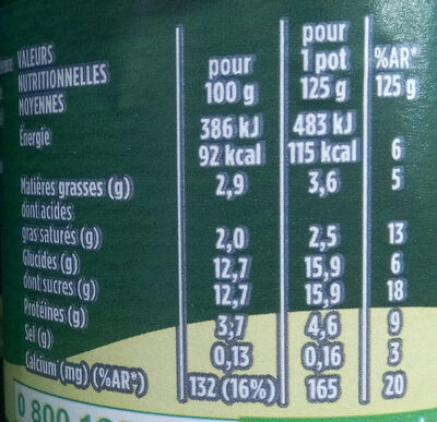 Activia saveur citron - Nutrition facts