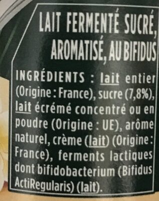 Yaourt activia vanille - Ingredients