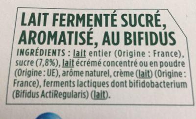 Activia saveur citron - Ingrédients