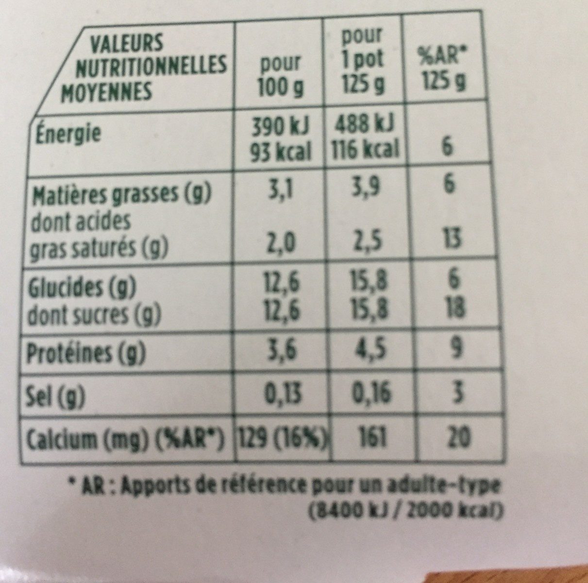 Activia saveur citron - Informations nutritionnelles