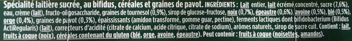 Activia bifidus cereales graines de pavot - Ingrédients - fr