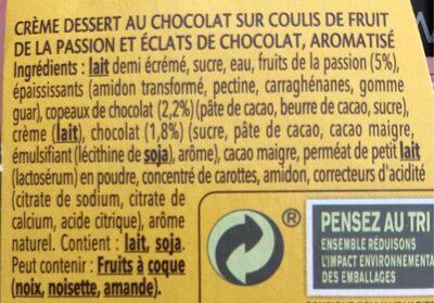 Danette & fruit sur coulis fruit de la passion et éclats de chocolat - Ingrédients - fr