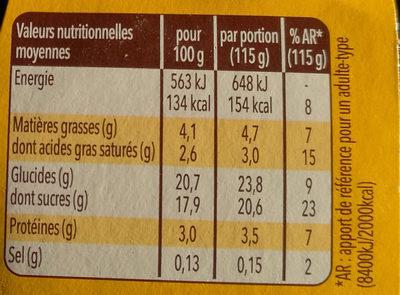 Danette & fruit sur coulis fruit de la passion et éclats de chocolat - Informations nutritionnelles - fr