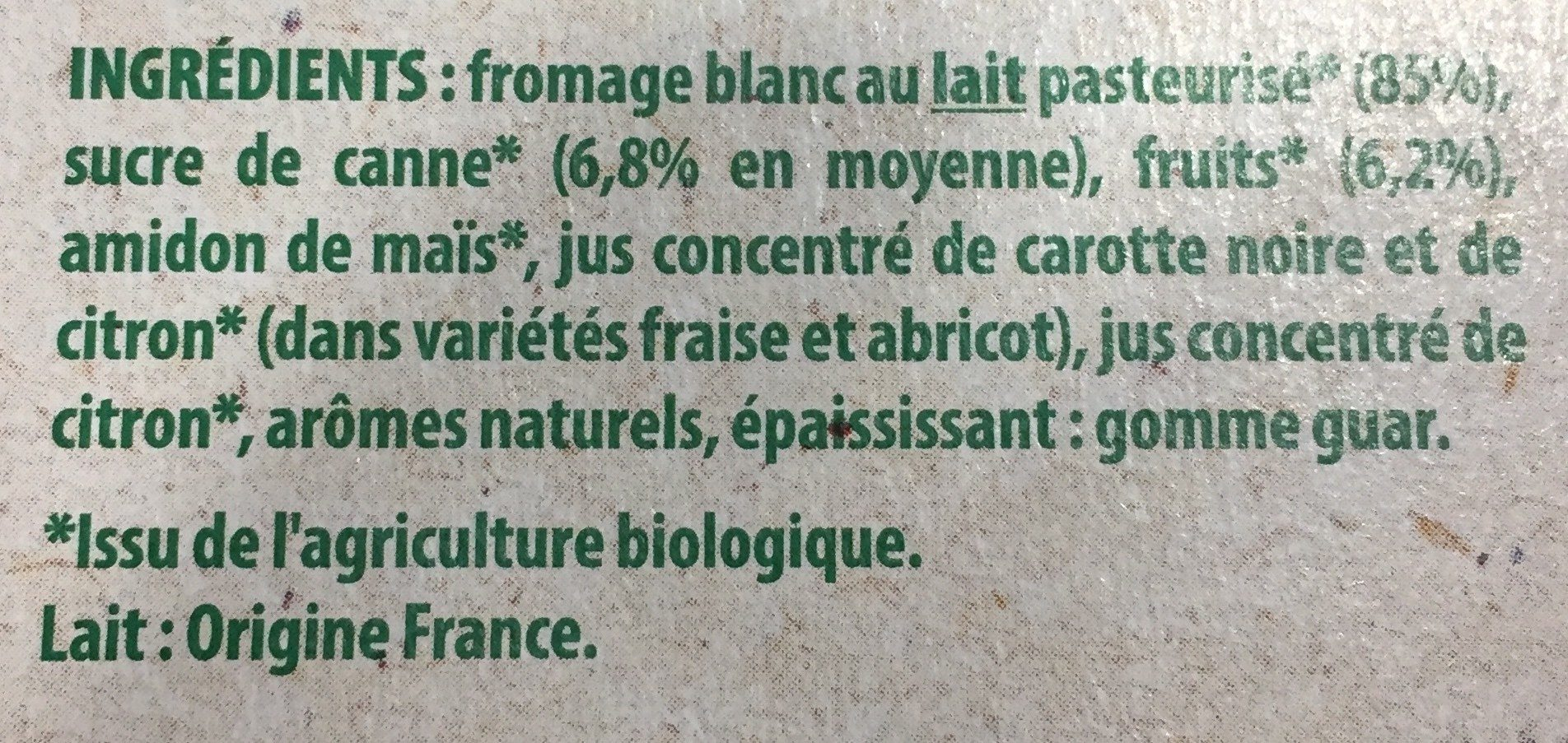 Danonino bio - Ingrédients - fr