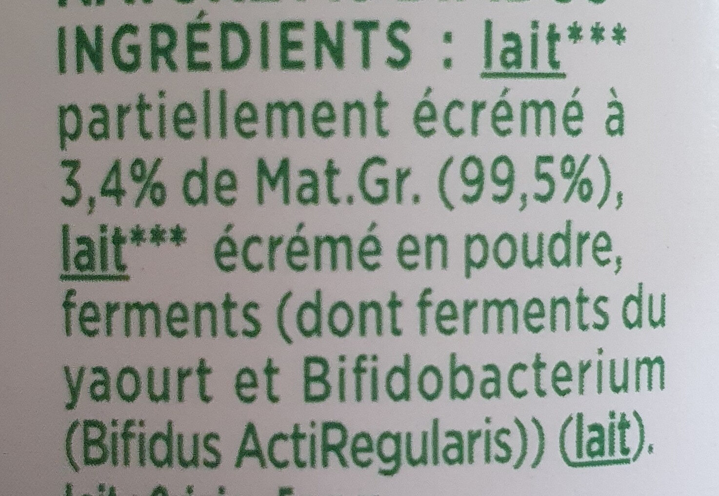 Activia bifidus - Ingredients - fr