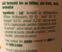 Yaourt Activia Duo mangue ananas - Ingrédients