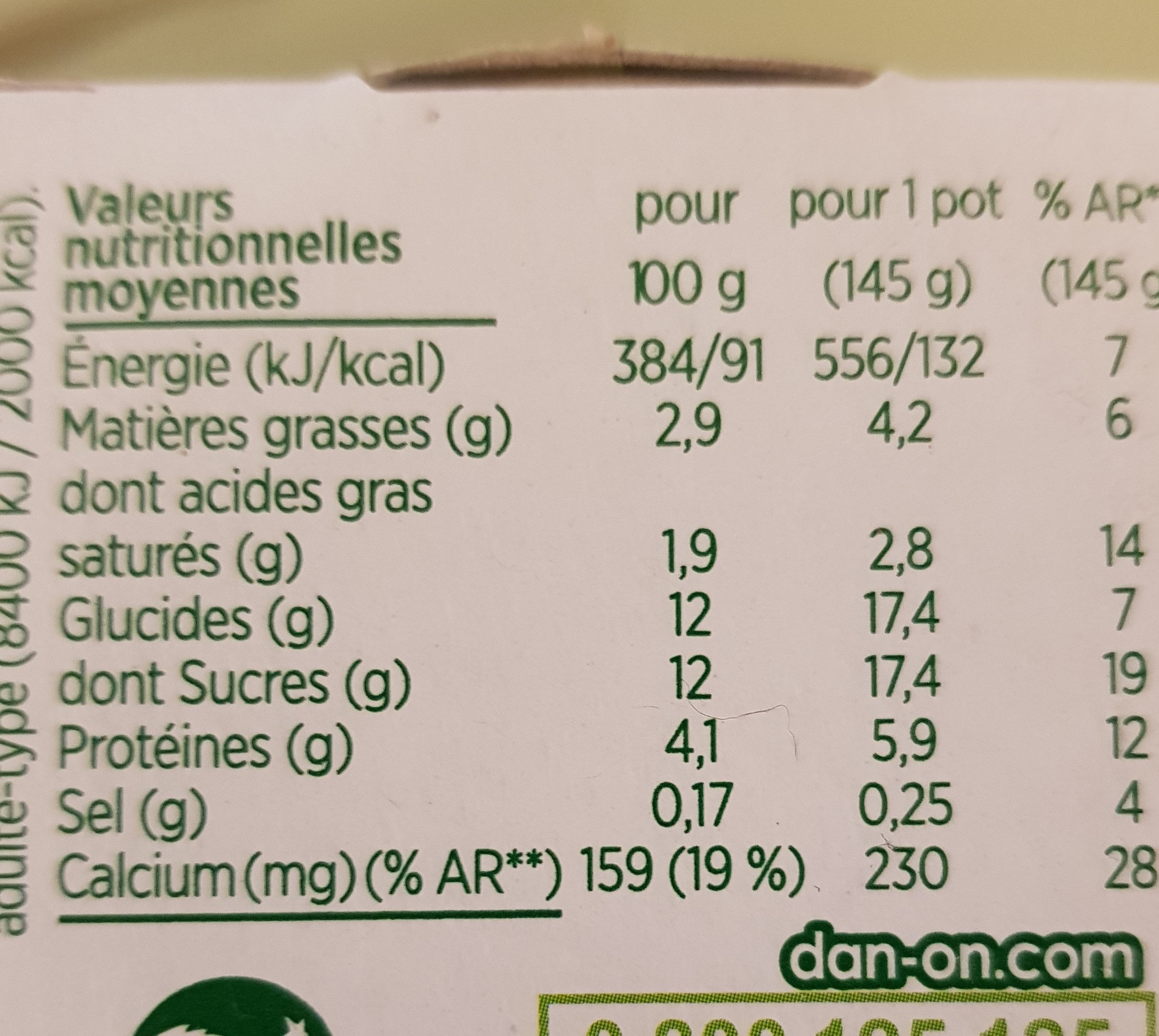 Yaourt Activia Duo mangue ananas - Informations nutritionnelles