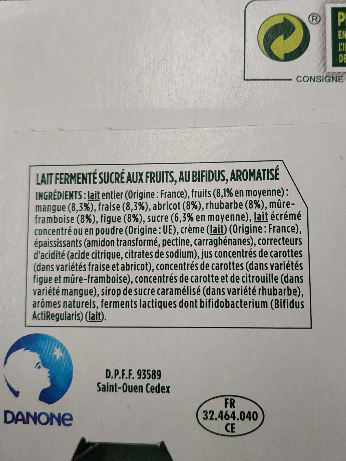Activia - Ingrédients - fr