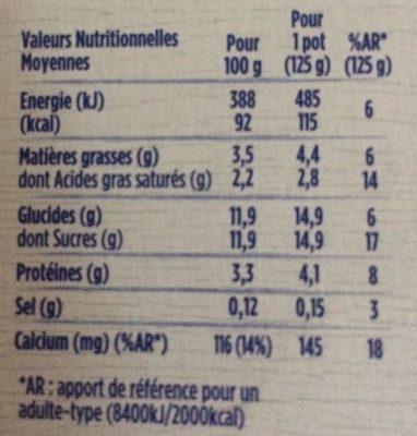 Yaourt édition 1919 Arômes Fleur d'oranger et Vanille - Informations nutritionnelles