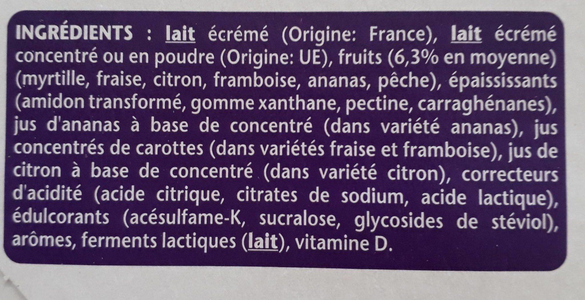 Taillefine aux fruits 0% mat. Grasses - Ingredients