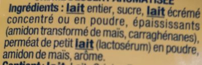 Danette saveur coco - Ingrédients