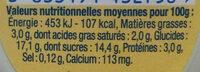 Danette saveur coco - Informations nutritionnelles