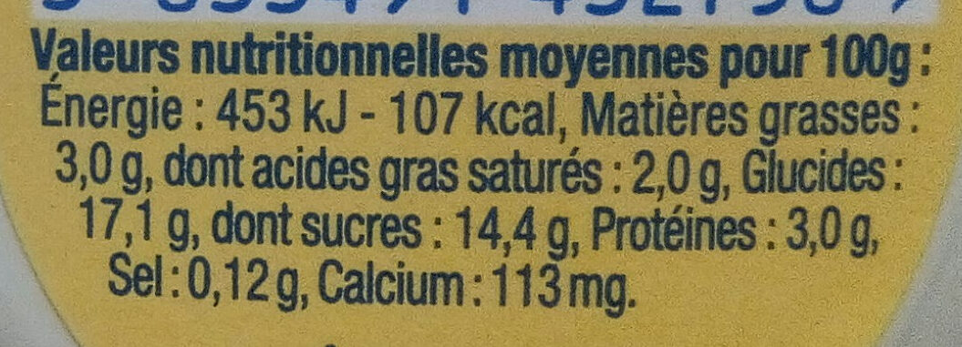 Danette Noix de coco - Informations nutritionnelles - fr