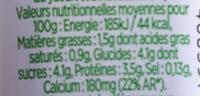 Shot probiotique - Nutrition facts
