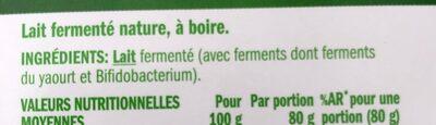 Shot probiotiques - Ingredients
