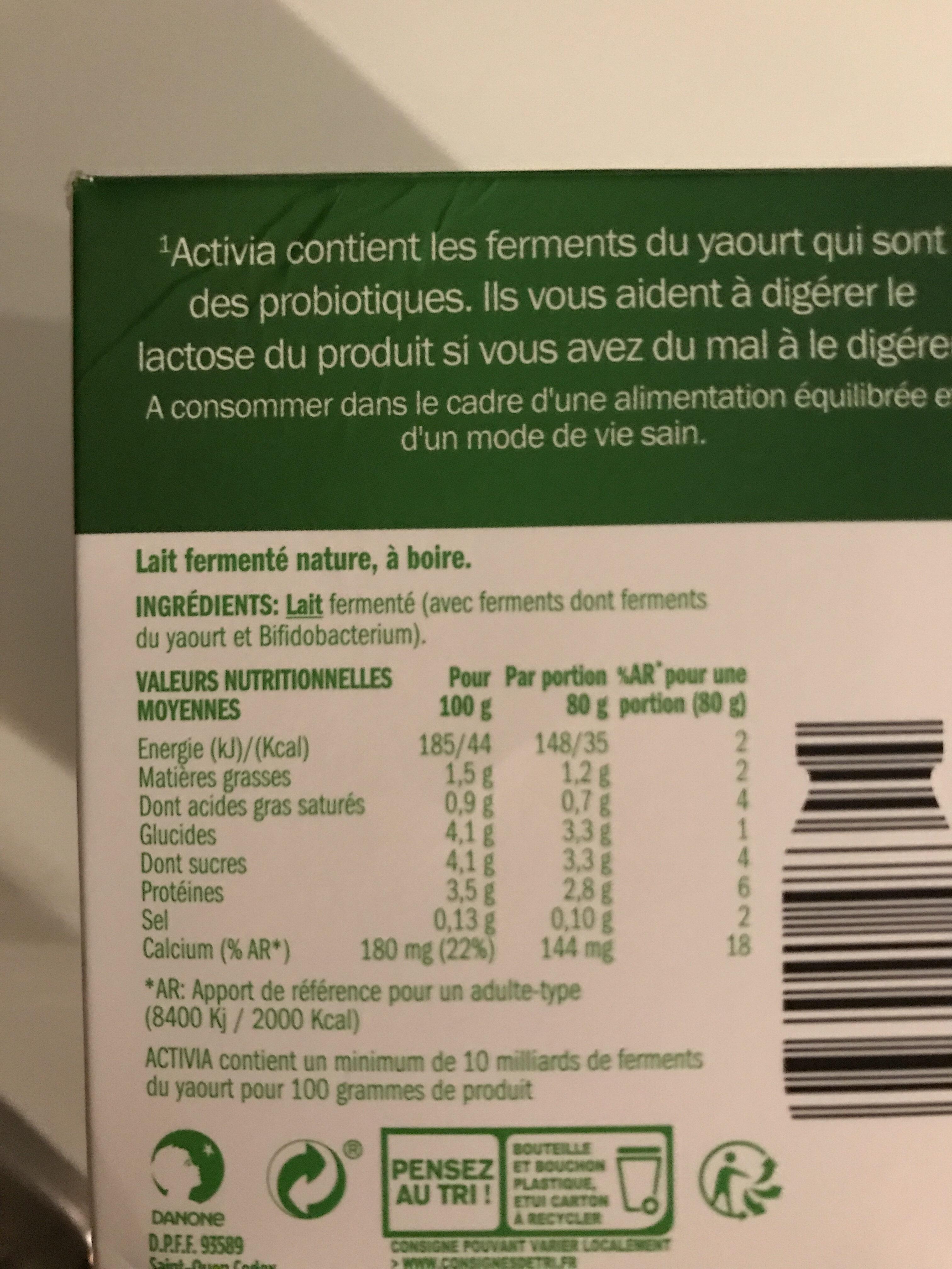 Shot probiotiques - Nutrition facts