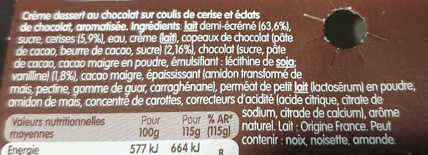 Danette et fruit sur coulis de cerise - Ingrédients - fr