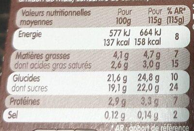 Danette et fruit sur coulis de cerise - Informations nutritionnelles - fr