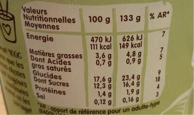 Dessert végétal Noisette Chocolat - Informations nutritionnelles - fr