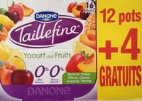 Taillefine, Yaourt au Fruits (0 % MG, 0 % Sucres Ajoutés) - (Abricot, Fraise, Citron, Cerise, Ananas, Pêche) 12 Pots + 4 Gratuits - Produit