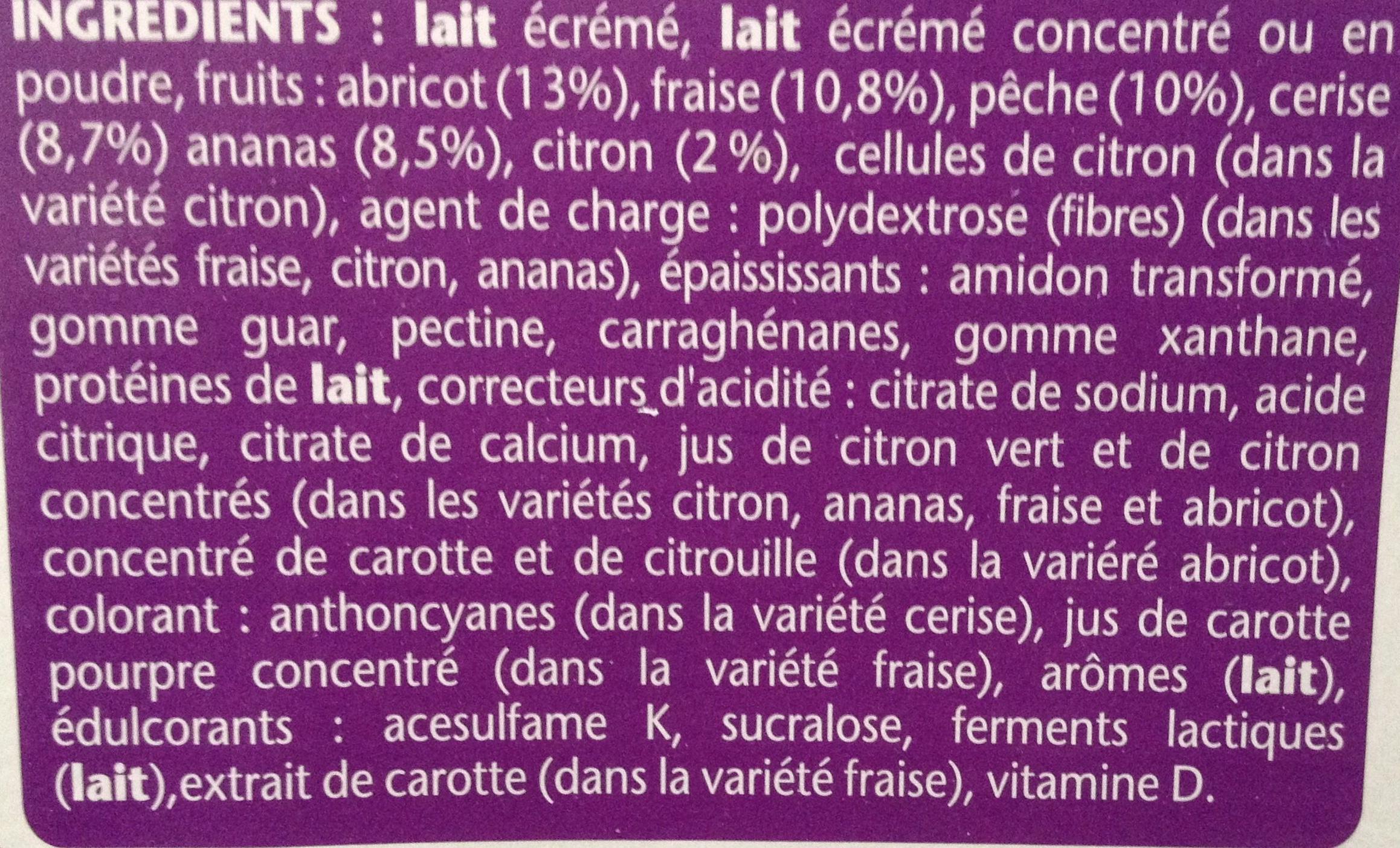 Taillefine, Yaourt au Fruits (0 % MG, 0 % Sucres Ajoutés) - (Abricot, Fraise, Citron, Cerise, Ananas, Pêche) 12 Pots + 4 Gratuits - Ingrédients