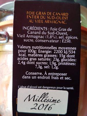 Foie gras de canard Entier grande réserve - Ingredients