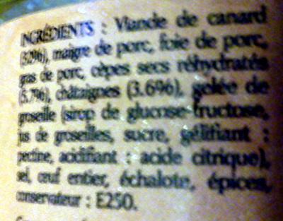 Terrine de Canard Châtaignes & Cèpes - Ingrédients