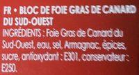 Foie Gras de canard du sud ouest - Ingredients - fr